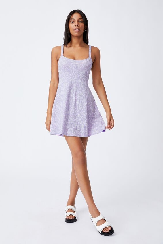 Turner Strappy Mini Dress, LENA DITSY POWDER LILAC