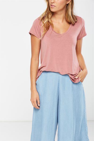 Keira Short Sleeve V-Neck T Shirt, RUSTIQUE