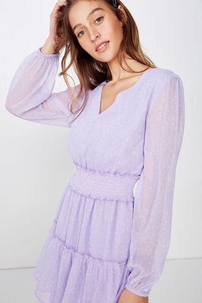 Woven Lexia Long Sleeve Mini Dress, ELLA FLORAL PASTEL LILAC