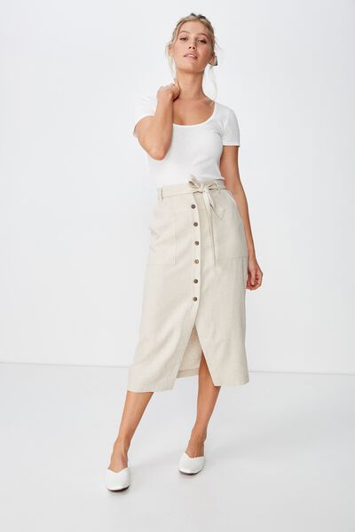 Woven Willow Midi Skirt, LATTE MARLE PATCH POCKET