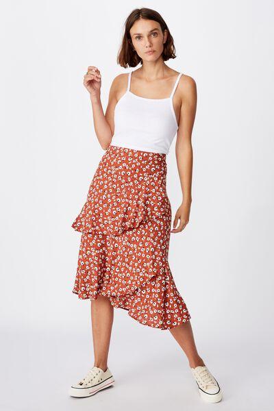 Eve Frill Midi Skirt, CHLOE DAISY DUSTY BROWN