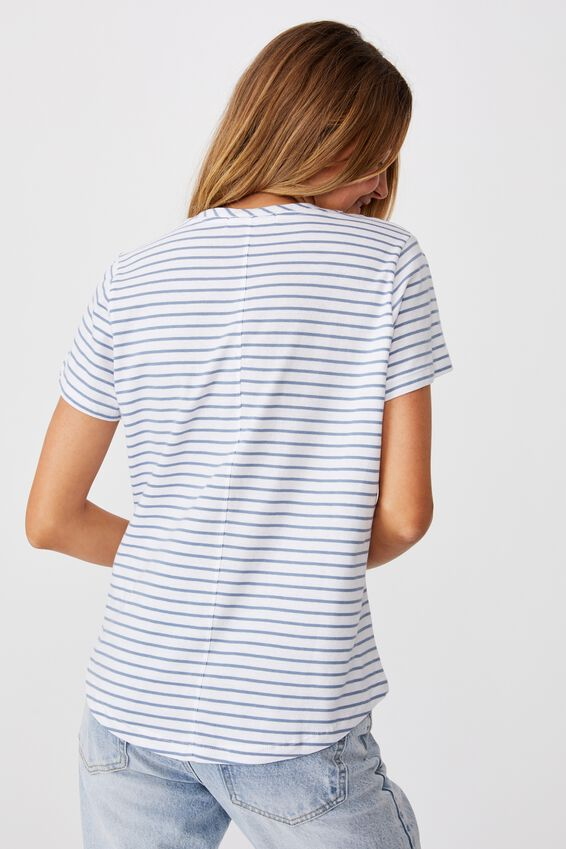 The One Crew Tee, EDDY STRIPE WHITE/SKY BLUE