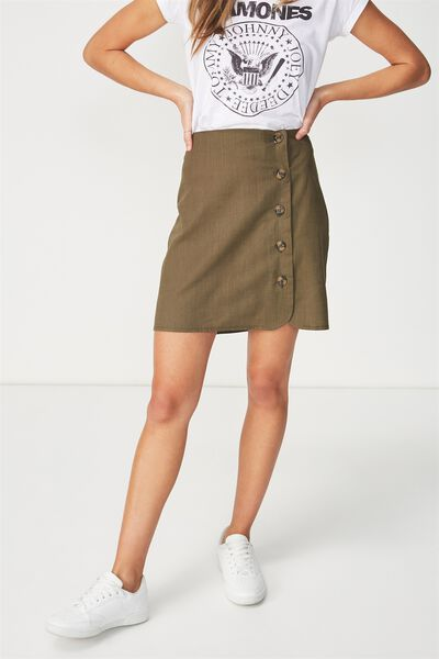 Woven Mini Military Skirt, BEECH