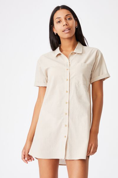Woven Lola Button Shirt Dress, TAUPE