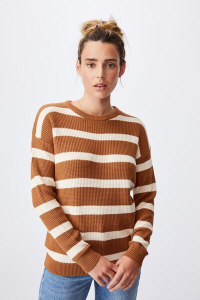 Cotton Pullover, BRONZED BROWN BARELY STRIPE