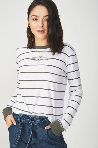 Tbar Tammy Chopped Graphic Long Sleeve Tee, POISON OR PLACEBO DEEP DEPTHS STRIPE/WHITE