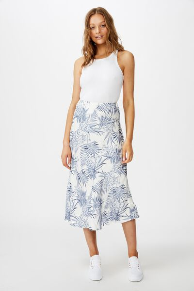 Belle Bias Midi Skirt, TESSA TROPICAL CANNOLI CREAM