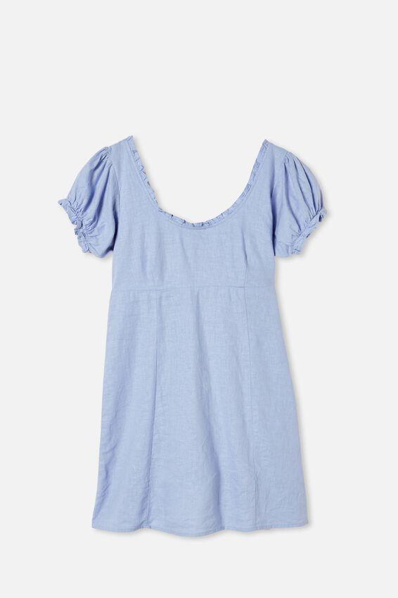 Woven Lydia Ruffle Edge Mini Dress, POWDER BLUE