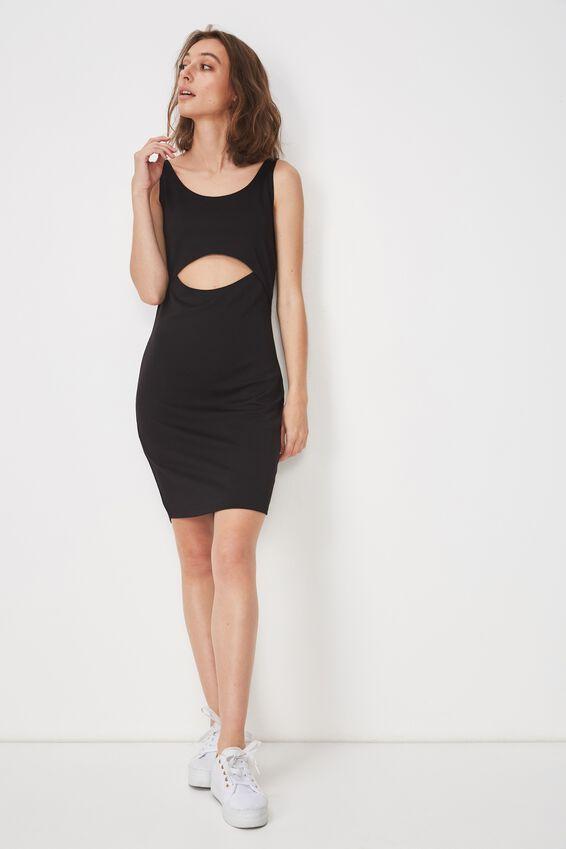 Milly Cut-Out Bodycon Mini Dress, BLACK