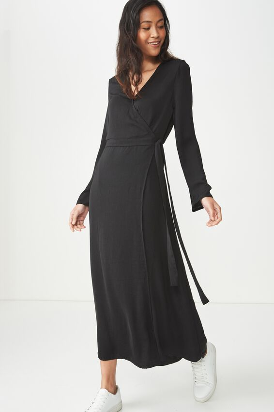 Woven Satin Maxi Dress, BLACK