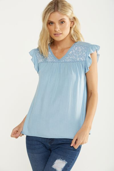 Stella Broderie Top, LYOCELL