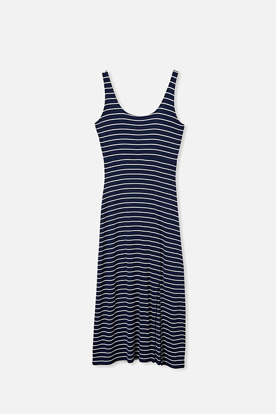 Tonia Strappy Midi Dress, NAVY/WHITE STRIPE