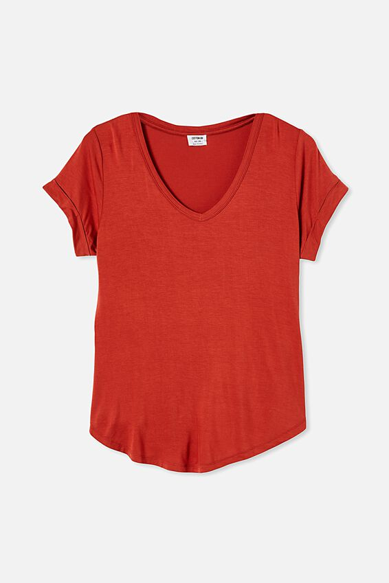 Karly Short Sleeve V Neck Top, RED CLAY