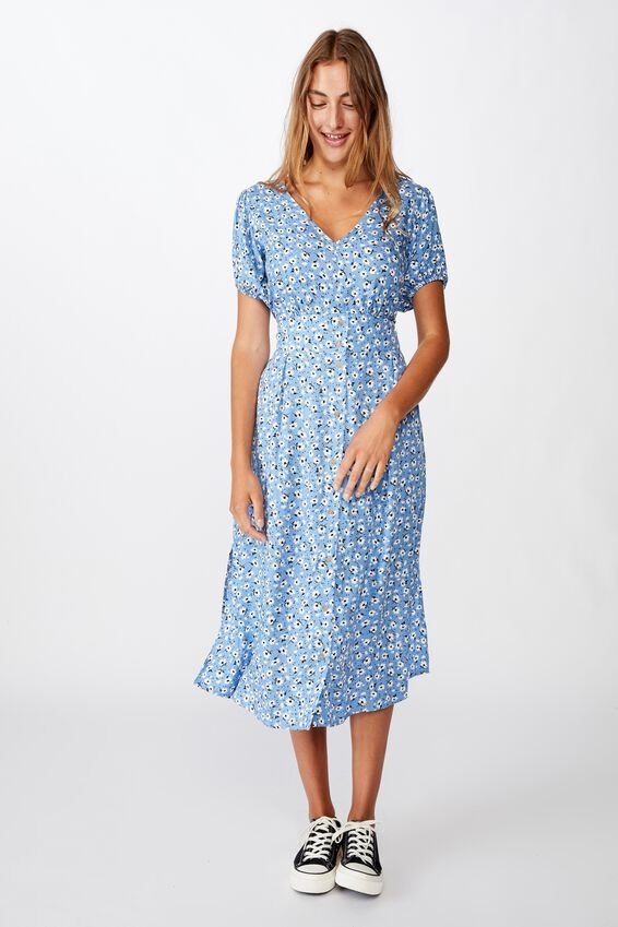 Woven Chloe Puff Sleeve Midi Dress, CHLOE DAISY PARISIAN BLUE