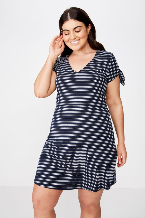 Curve Sadie Fit And Flare Short Sleeve Mini Dress, DEE DOUBLE STRIPE