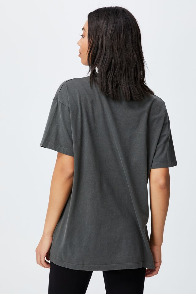 The Relaxed Boyfriend Graphic Tee, LCN LN NIRVANA YELLOW SMILEY WASHED/SLATE GRE