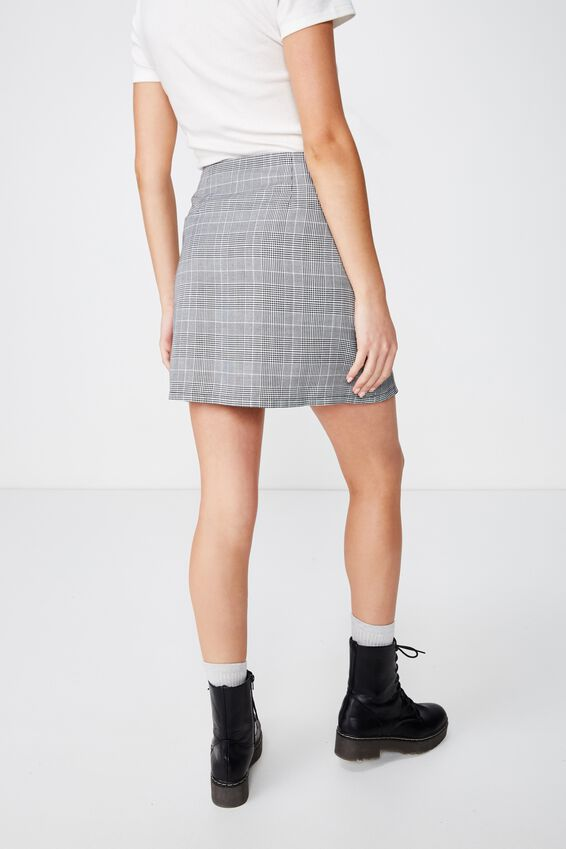 Woven Ivy Check Mini Skirt, BELLA CHECK BLACK