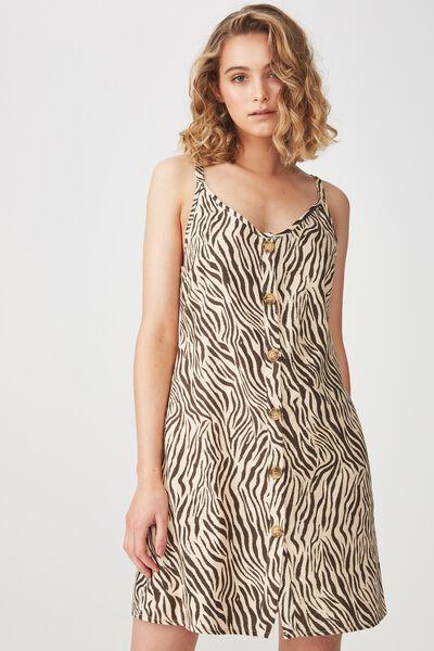 Woven Margot Slip Dress, BUTTON THROUGH SARAH ZEBRA APRICOT ILLUSION
