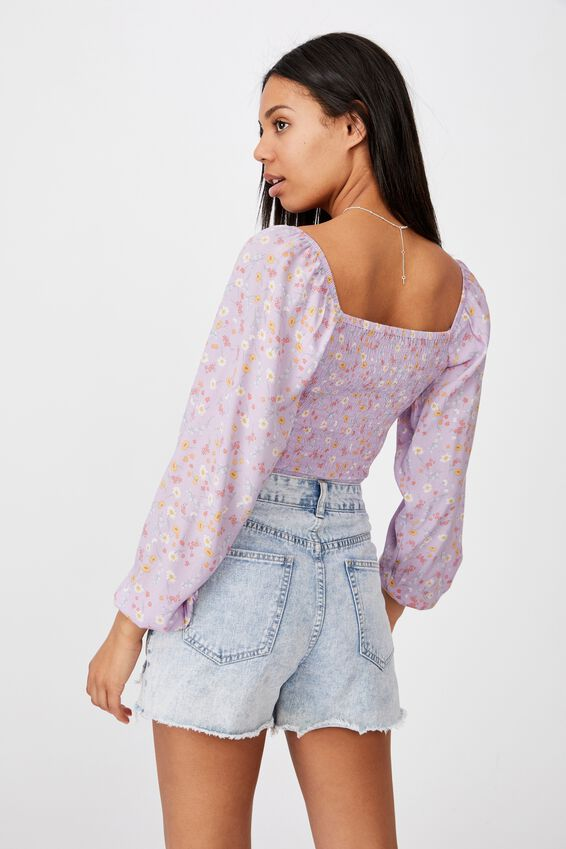 Arabella Rouched Front Blouse, JORDIE FLORAL FROSTY LILAC