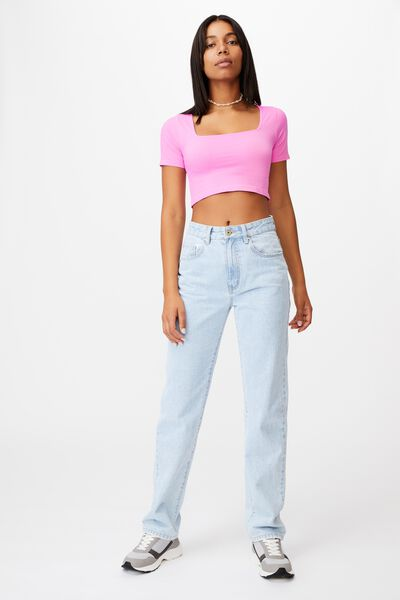 Sadie Square Neck Seamless Tee, RASPBERRY SODA