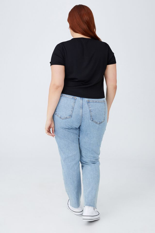 Curve Cut Out Short Sleeve Top, BLACK