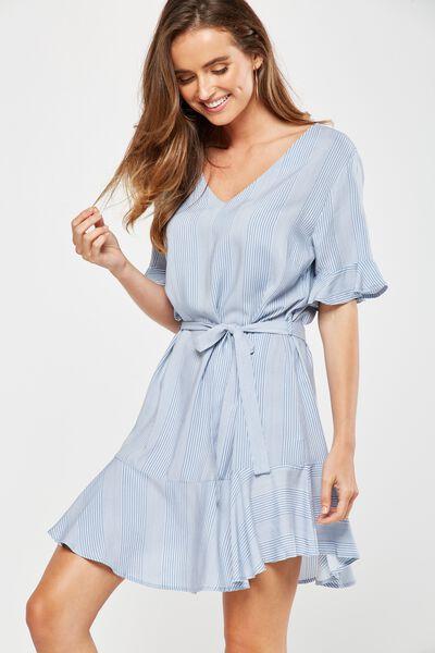 Woven Matina 3/4 Sleeve Dress, CADET BLUE/WHITE HANNA STRIPE
