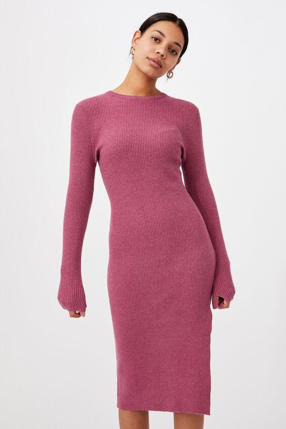 Ella Knit Long Sleeve Maxi Dress, DARK GRAPE MARLE