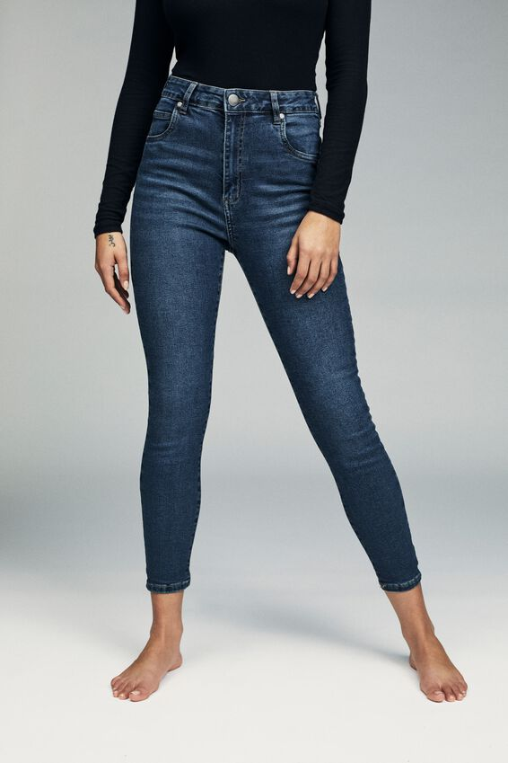 High Rise Cropped Skinny Jean, TRUE STONE BLUE