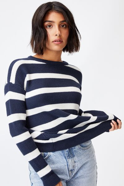 Cotton Pullover, MEDIEVAL BLUE SNOW WHITE STRIPE