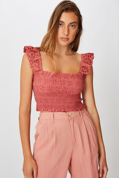 Broderie Cropped Cami, CANYON ROSE