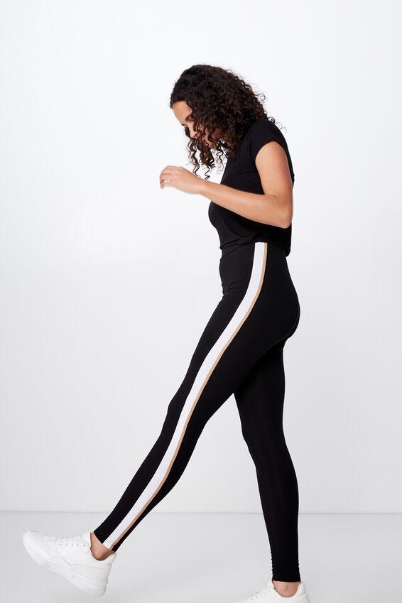 Chelsea High Waisted Legging, BLACK WHITE/TIGERS EYE SIDE STRIPE