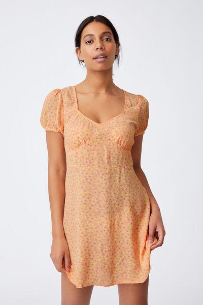 Woven Essential Tie Back Mini Tea Dress, SOPHIE DITSY LEMON MINI