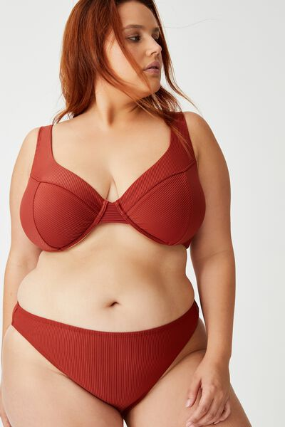 Curve High Side Brazilian Bikini Bottom, RUST RIB