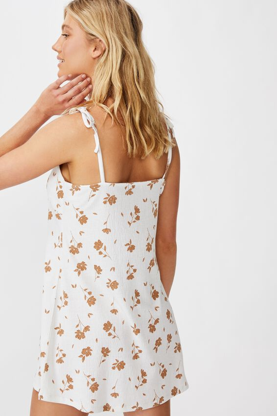 Alisa Gathered Strappy Mini Dress, LUCY FLORAL CANNOLI CREAM