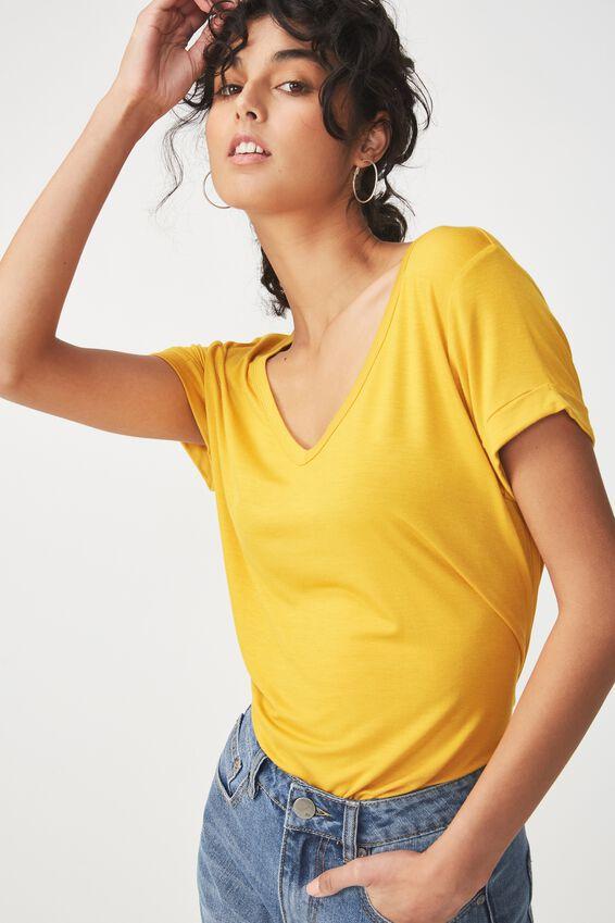 Karly Short Sleeve V Neck Top, GOLDEN SUN