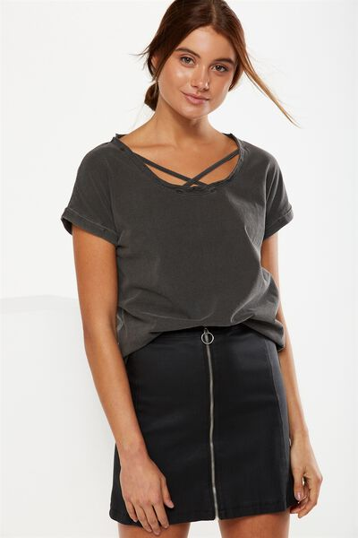 Florence Cross Front Tee, BLACK