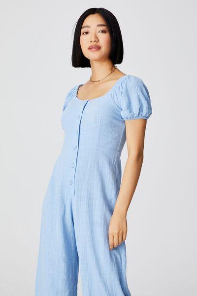 Woven Petite Juni Puff Sleeve Jumpsuit, AUTHENTIC BLUE