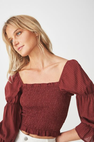Gina Square Neck Blouse, CABERNET