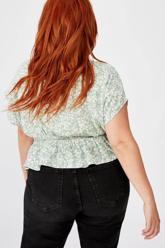 Curve The Ultimate Tea Blouse, TAYLAH DITSY GREEN BAY