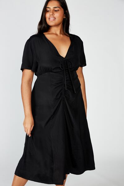 Curve Woven Marissa Gathered Front Midi Dress, BLACK