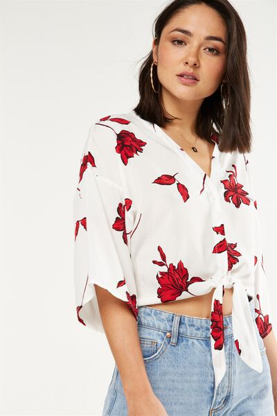 Freddie Tie Front Blouse, LILY FLORAL TANGO RED