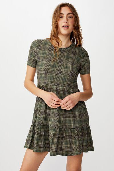 Carissa Short Sleeve Babydoll Mini Dress, DARCEY CHECK THYME