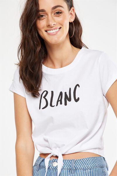 Tbar Tie Front Tee, BLANC/WHITE