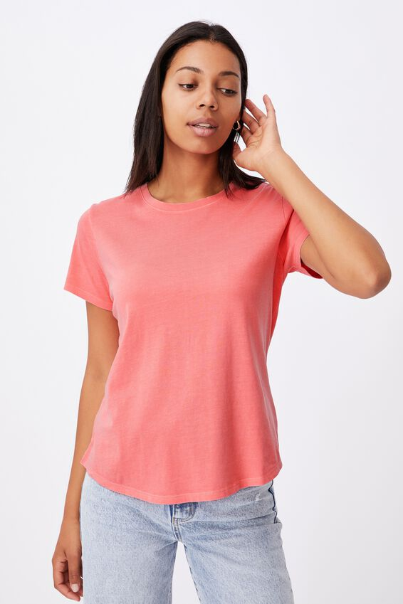 The One Crew Tee, WASHED STRAWBERRY SORBET