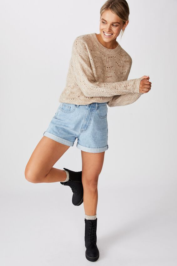 Patsy Cropped Pointelle Pullover, NATURAL