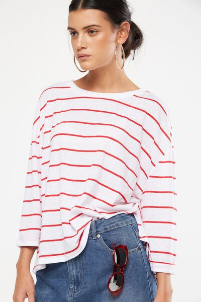 Jacklyn Oversized Long Sleeve Top, TRAY STRIPE WHITE/CHERRY RED