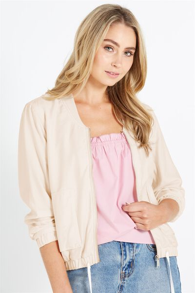 Nate Satin Light Weight Bomber Jacket, CREAMY SAND
