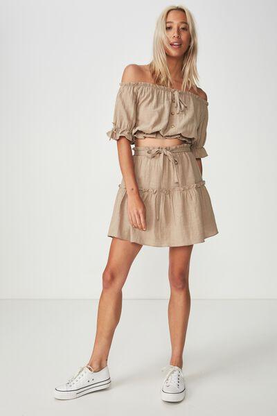Woven Tyra Textured Mini Skirt, SILVER SAGE