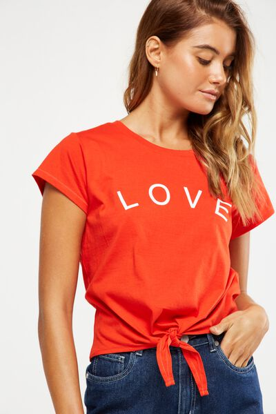 Tbar Tie Front Tee, LOVE/FLAME SCARLET