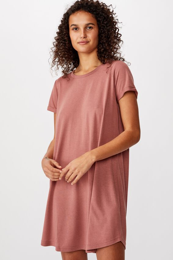 Tina Tshirt Dress 2, BURLWOOD